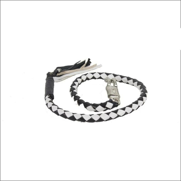 2 Black & White Get Back Whip for Motorcycles - Motorcycle Get Back Whip