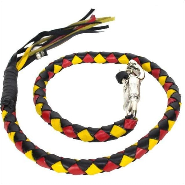 42 Inch Long Hand-Braided Get back Whip - Black/Yellow/Red - Motorcycle Get Back Whip
