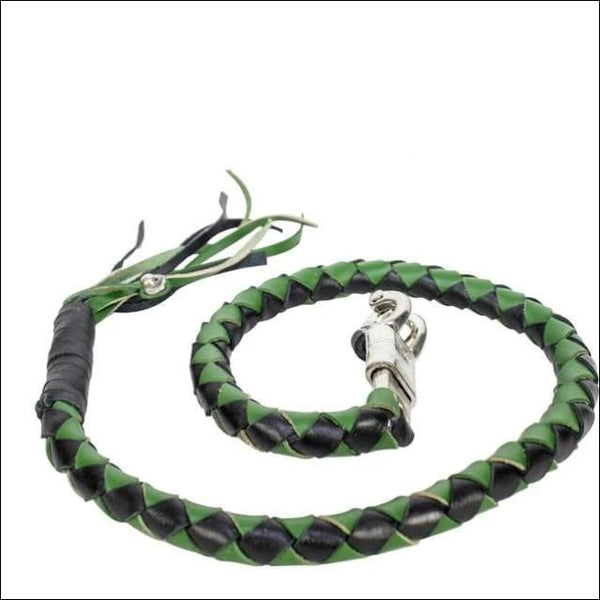 42 X 2 Hand-braided Naked Leather Get Back Whip - Black/Green - Motorcycle Get Back Whip