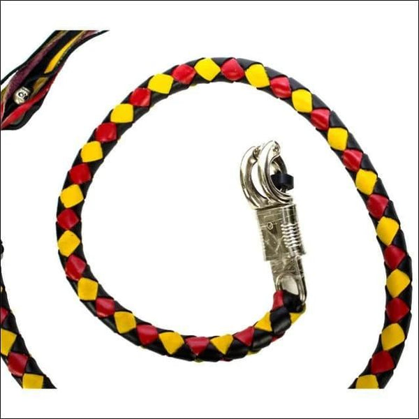 """42/"""" Long Genuine Braided Black /& Yellow Leather Motorcycle Get Back Whip"""