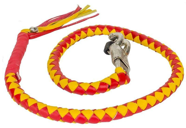 "fire-lilie,42"" Red & Yellow Get Back Whip For Motorcycles,Motorcycle Get Back Whip,Dealer Leathers Wholesale"
