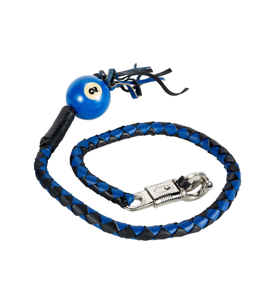 fire-lilie,Black And Blue Fringed Get Back Whip W/ Pool Ball,Motorcycle Get Back Whip,Dealer Leathers Wholesale