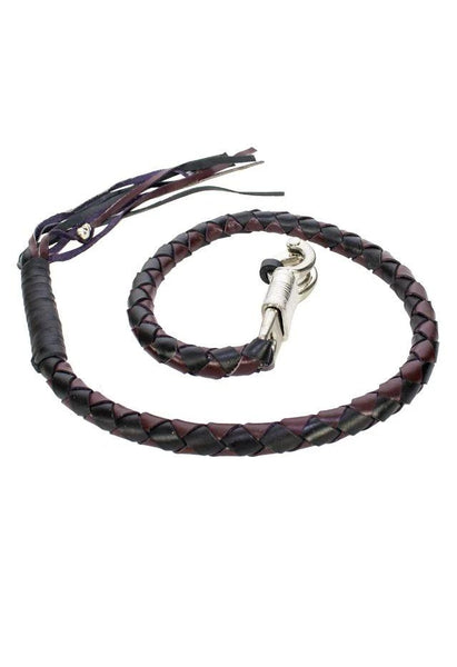 "fire-lilie,42"" Inch  Leather Hand-Braided Get back Whip - Black/Dark Brown,Motorcycle Get Back Whip,Dealer Leathers Wholesale"