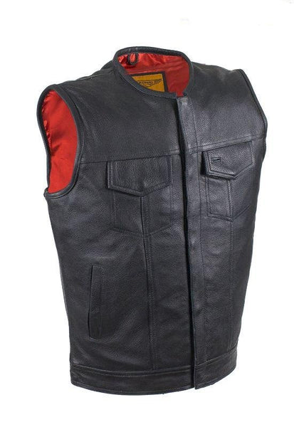 fire-lilie,Mens No Collar Leather Motorcycle Club Vest with Red Liner,Men's Leather Motorcycle Vest,Dealer Leathers Wholesale