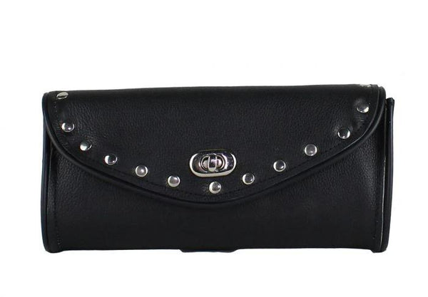 fire-lilie,Authentic Black Leather Motorcycle Windshield Bag With Stud,Windshield Bag,Dealer Leathers Wholesale
