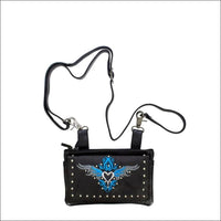 All Naked Cowhide Leather Belt Bag with Turquoise/Gray Heart and Studs - Belt Bag
