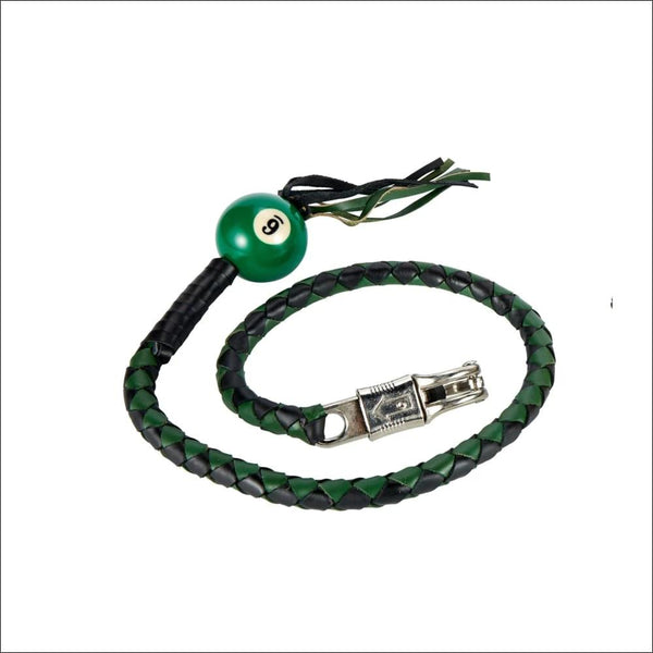 Black And Green Fringed Get Back Whip W/ Pool Ball - Motorcycle Get Back Whip