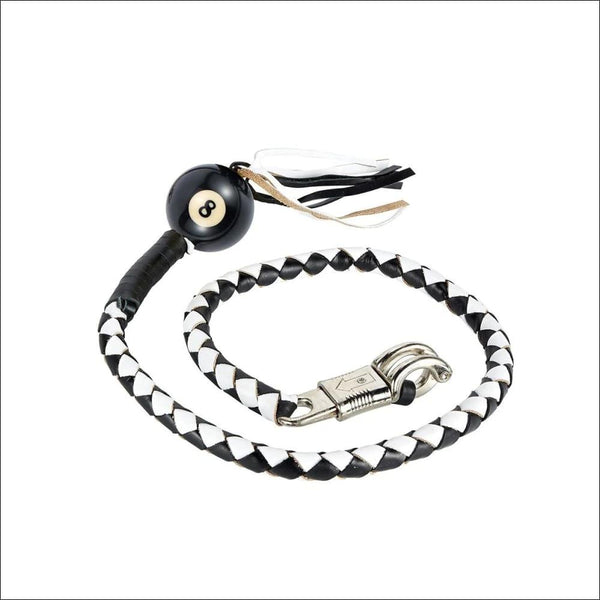 Black And White Fringed Get Back Whip With Pool 8 Ball - Motorcycle Get Back Whip