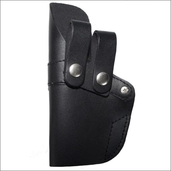 Black Leather Gun Holster With Two Leather Straps - Leather Gun Holster