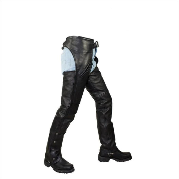 Black Naked Cowhide Leather Chaps W/ Mesh Lining - Mens Motorcycle Chaps