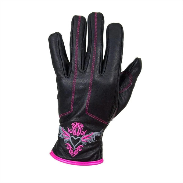 Dream Apparel Pink-Heart Graphic Leather Gloves - Womens Leather Gloves
