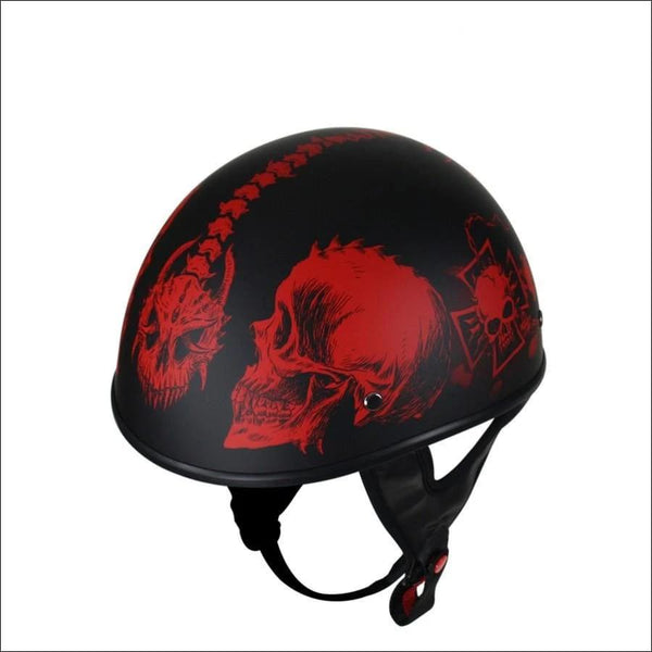 Flat Black DOT Helmet with Red Horned Skeletons - DOT Helmet