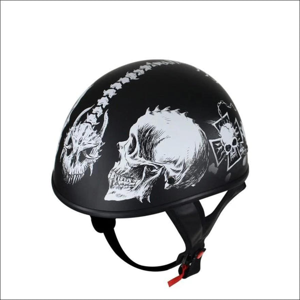 Flat Black DOT Helmet with White Horned Skeletons - DOT Helmet
