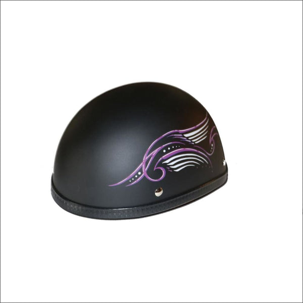 H31PU Novelty Eagle Purple Tribal Wings/Flat Black- Non-DOT - Womens Motorcycle Helmet