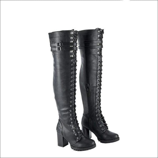 Ladies Knee High Laced Boots By Milwaukee Riders® - Women Motorcycle Boot