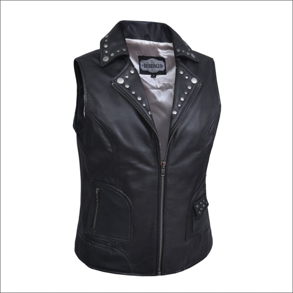 Ladies Premium Studded Leather Vest - Ladies Vests