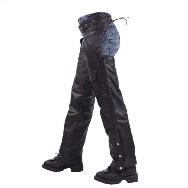 Leather Braided Motorcycle Chaps - Mens Motorcycle Chaps
