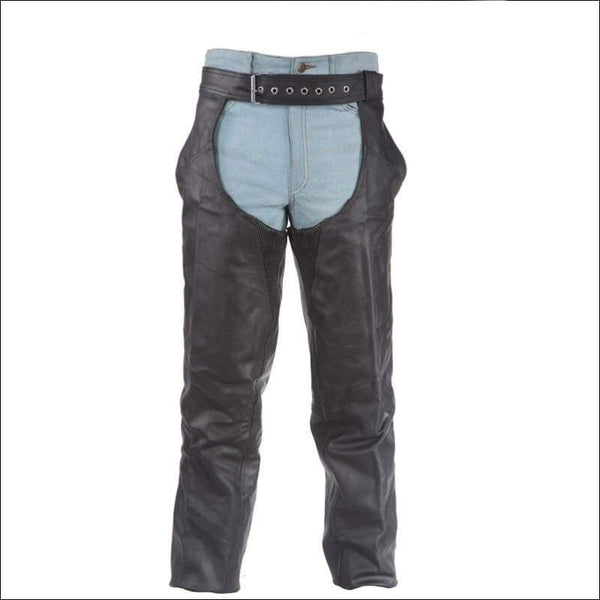 Leather Chaps With Braid - Mens Motorcycle Chaps