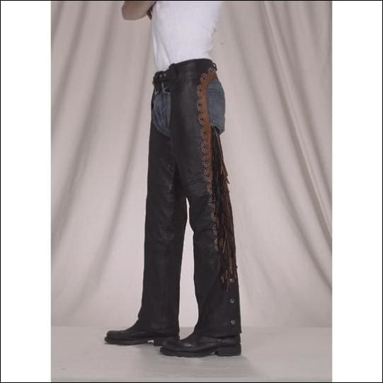 Leather Chaps With Studs Fringe & Mesh Lining - Mens Motorcycle Chaps