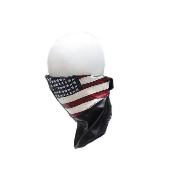 Leather Face Mask With USA Flag - Motorcycle Face Mask