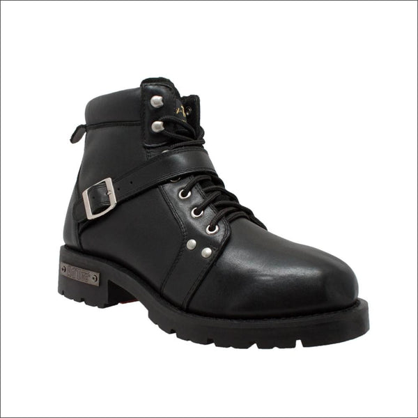 Mens 6 YKK Zipper Black Biker Boot - Mens Leather Motorcycle Boots