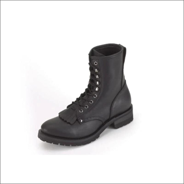 Mens Biker Boots With Laces & Tassel In Front - Mens Leather Motorcycle Boots