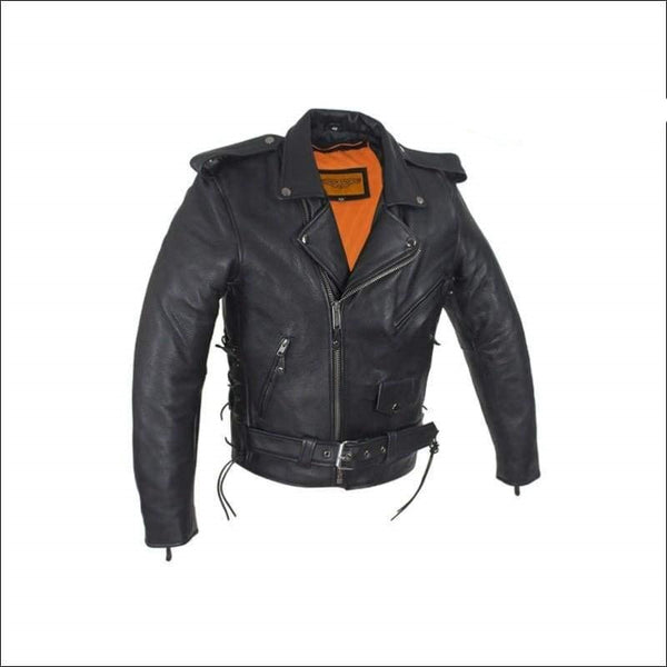 Mens Classic Police Style Motorcycle Jacket With Side Laces - Mens Leather Motorcycle Jacket