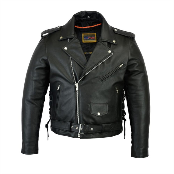 Mens Classic Side Lace Police Style M/C Jacket - Mens Leather Motorcycle Jacket