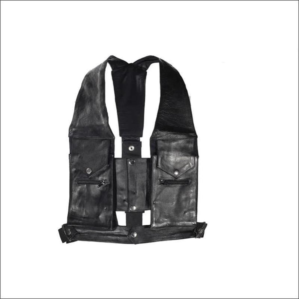 Mens Cowhide Leather Commando Style Pocket Vest - Mens Leather Motorcycle Vest