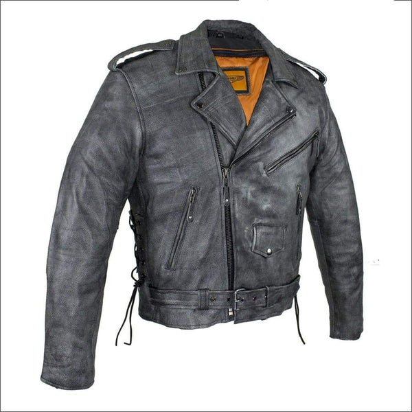 Mens Gray Motorcycle Jacket With Gun Pockets - Mens Leather Motorcycle Jacket