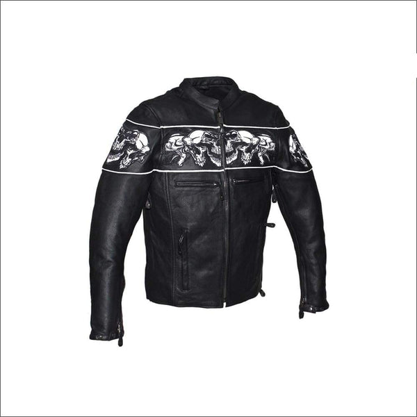 Mens Leather Concealed Carry Racing Jacket with Reflective Skulls - Mens Leather Motorcycle Jacket