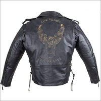 Mens Leather Motorcycle Jacket With Eagle - Mens Leather Motorcycle Jacket