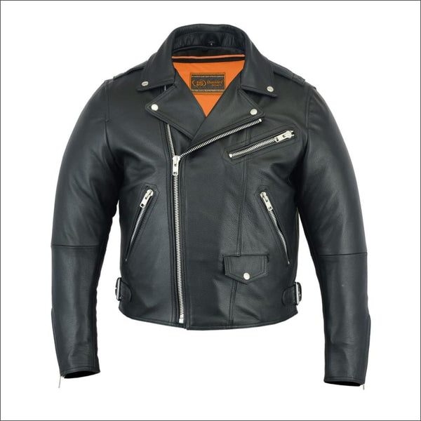 Mens Modern Full Cut Beltless Biker Jacket - Mens Leather Motorcycle Jacket