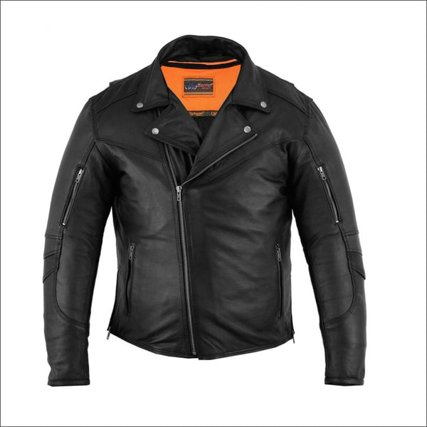 Mens Modern Longer Beltless Biker Jacket - Mens Leather Motorcycle Jacket