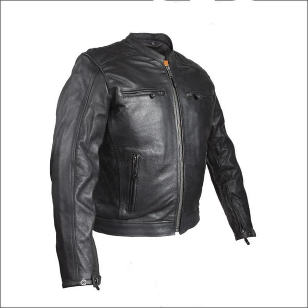 Mens Motorcycle Jacket With Diamond Pattern On The Sides & Shoulders - Mens Leather Motorcycle Jacket