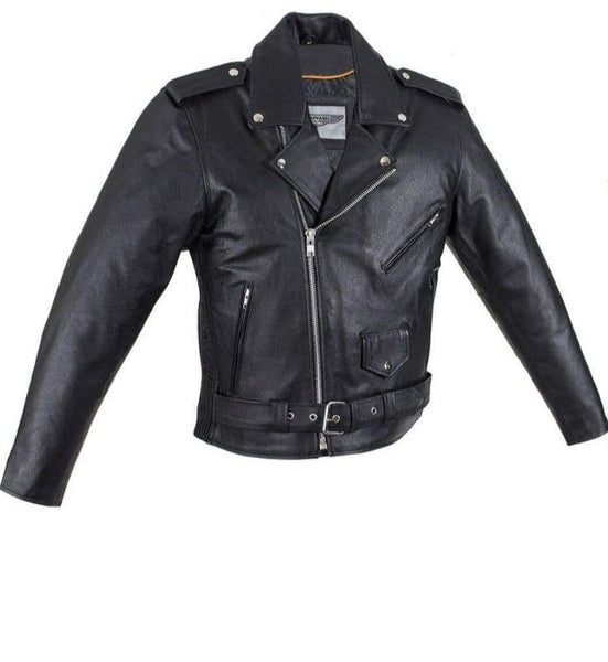 Mens Motorcycle Jacket With Snap Down Collar & Belt - Mens Leather Motorcycle Jacket