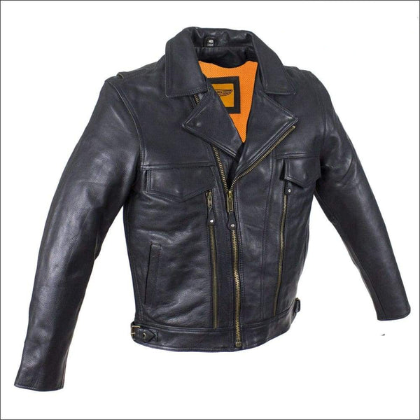 Mens Racer Jacket With Cuffs - Mens Leather Motorcycle Jacket