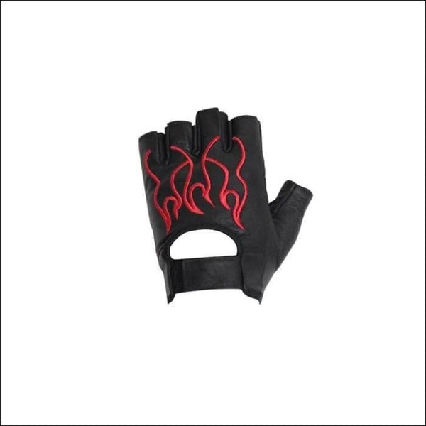 Motorcycle Red Flame Fingerless Gloves - Mens Motorcycle Gloves