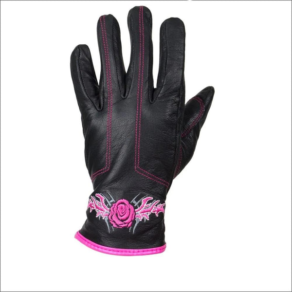 Pink-Rose Graphic Leather Gloves - Womens Leather Gloves