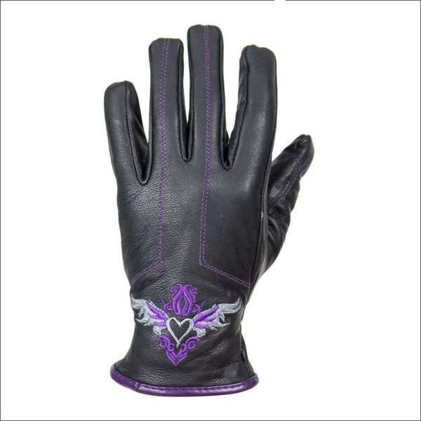 Purple-Heart Graphic Leather Gloves - Womens Leather Gloves