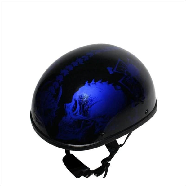 Shiny Blue Motorcycle Novelty Helmet With Horned Skeletons - Novelty Helmet
