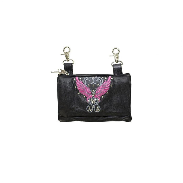 Studded Naked Cowhide Leather Belt Bag with Pink Wings - Belt Bag