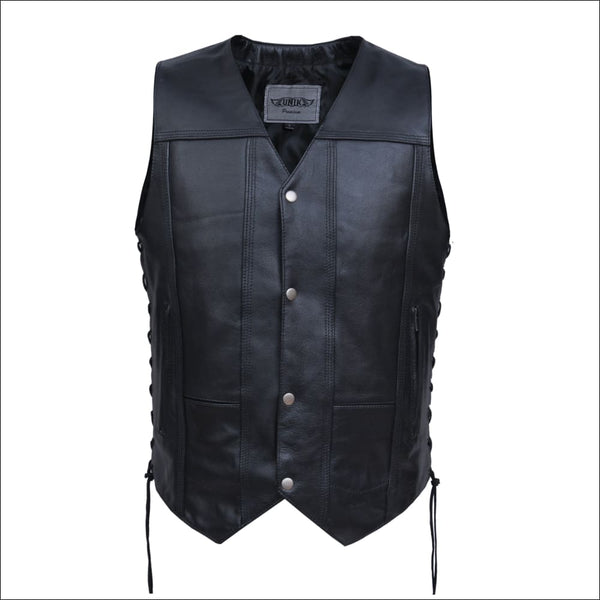 TALL MENS PREMIUM LEATHER 10-POCKET VEST - Mens Vests