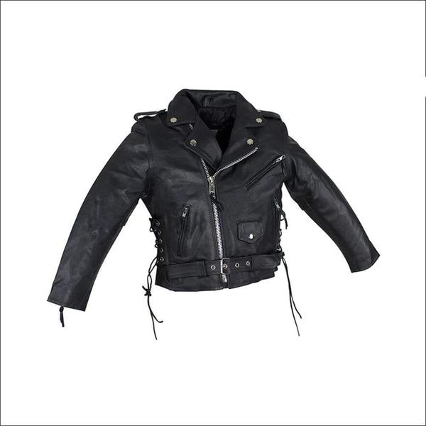 Teens Leather Motorcycle Jacket With Snap Down Collar - Kids Leather Motorcycle Jacket