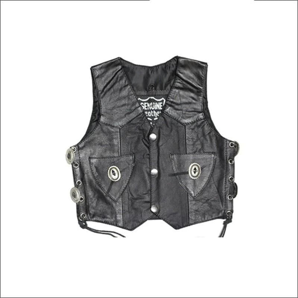 Toddler Kids Vest With Side Laces & Conchos - Kids Leather Motorcycle Vest