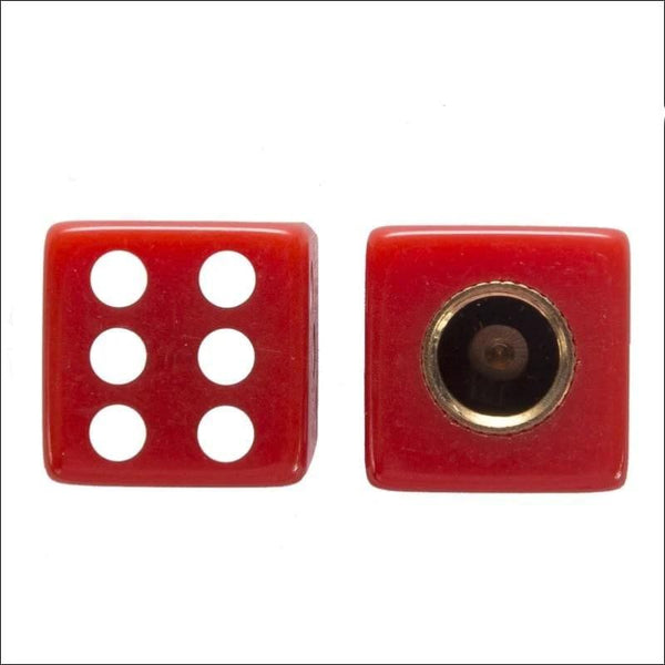 Two Red Dice Tire Valve Stem Caps - Motorcycle Valve Stem Caps