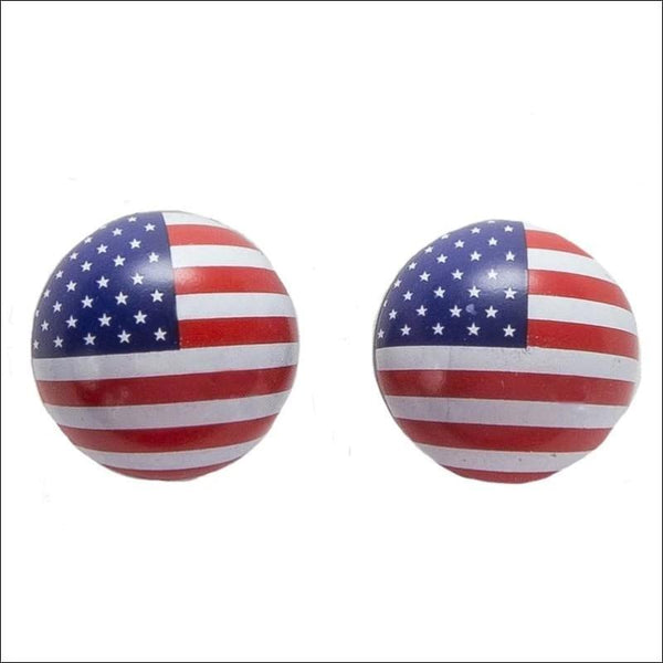 Two US Flag Tire Valve Stem Caps - Motorcycle Valve Stem Covers