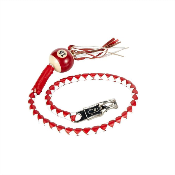 White And Red Fringed Get Back Whip W/ Pool Ball - Motorcycle Get Back Whip