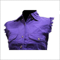 Women Purple Denim Sleeveless Shirt with Buttons - Tops