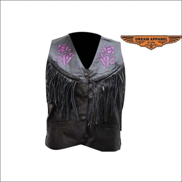 Women Purple Rose Inlay Vest - Womens Leather Motorcycle Vest